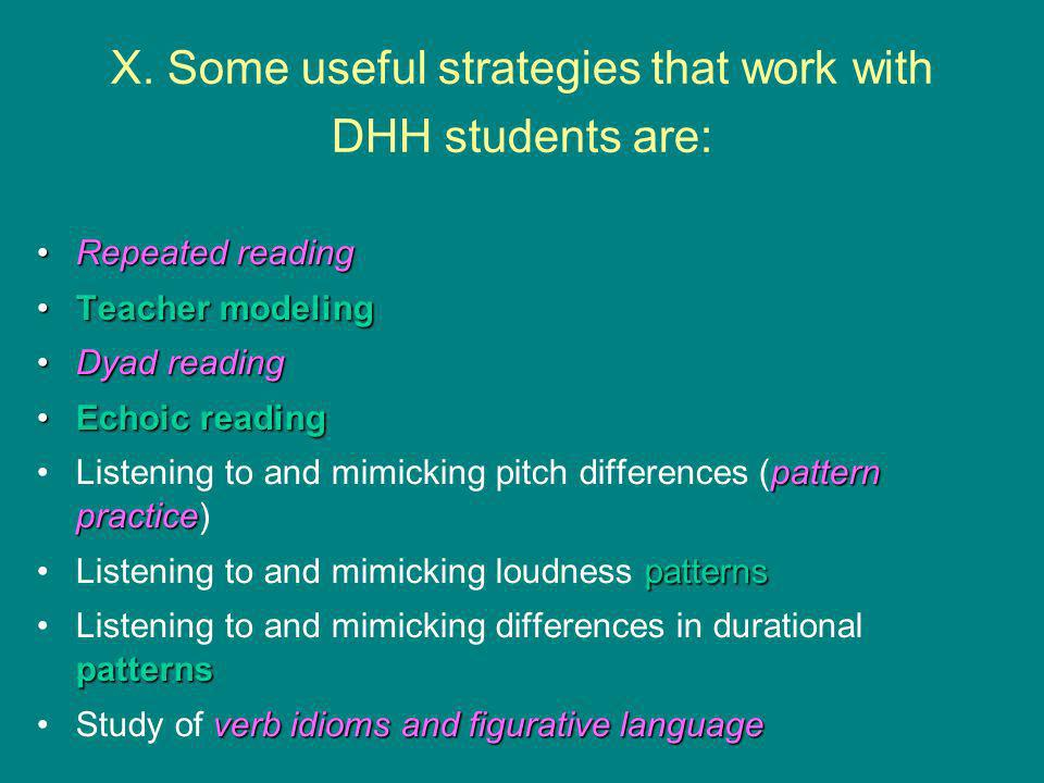 X. Some useful strategies that work with DHH students are: Repeated readingRepeated reading Teacher modelingTeacher modeling Dyad readingDyad reading