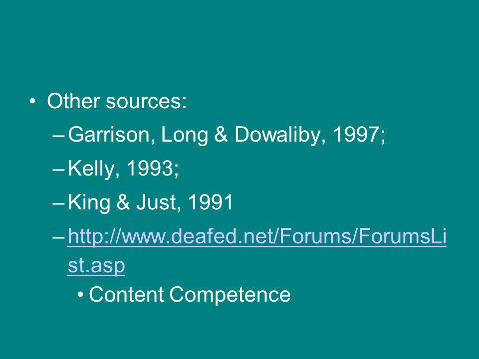 Other sources: –Garrison, Long & Dowaliby, 1997; –Kelly, 1993; –King & Just, 1991 –  st.asphttp://  st.asp Content Competence