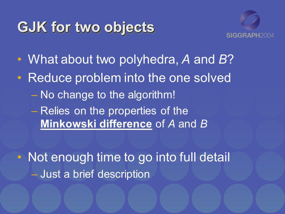 GJK for two objects What about two polyhedra, A and B? Reduce problem into the one solved –No change to the algorithm! –Relies on the properties of th