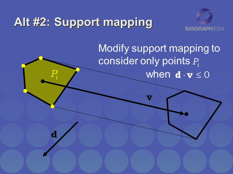 Alt #2: Support mapping Modify support mapping to consider only points when