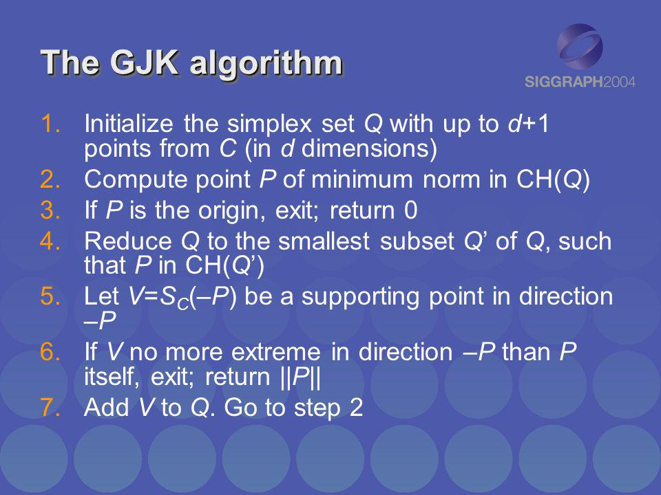 The GJK algorithm 1.Initialize the simplex set Q with up to d+1 points from C (in d dimensions) 2.Compute point P of minimum norm in CH(Q) 3.If P is t