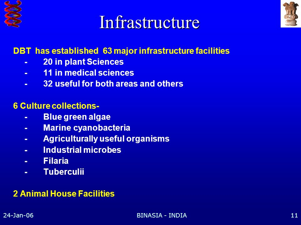 24-Jan-06BINASIA - INDIA11 Infrastructure DBT has established 63 major infrastructure facilities -20 in plant Sciences -11 in medical sciences -32 useful for both areas and others 6 Culture collections- -Blue green algae -Marine cyanobacteria -Agriculturally useful organisms -Industrial microbes -Filaria -Tuberculii 2 Animal House Facilities