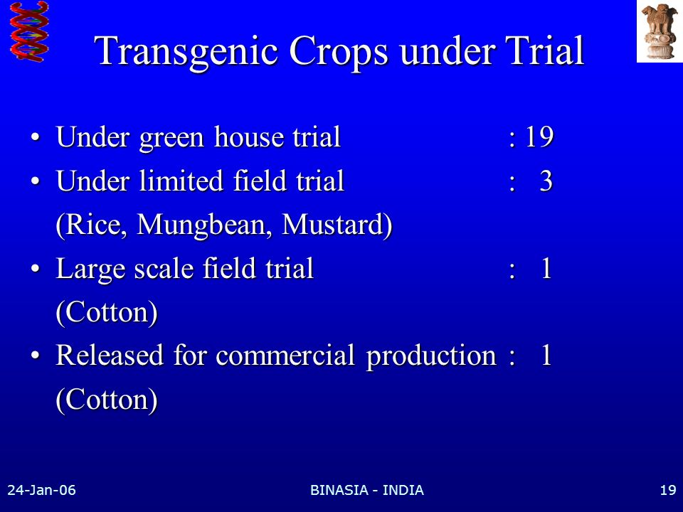24-Jan-06BINASIA - INDIA19 Transgenic Crops under Trial Under green house trial: 19Under green house trial: 19 Under limited field trial: 3Under limited field trial: 3 (Rice, Mungbean, Mustard) Large scale field trial: 1Large scale field trial: 1(Cotton) Released for commercial production: 1Released for commercial production: 1(Cotton)