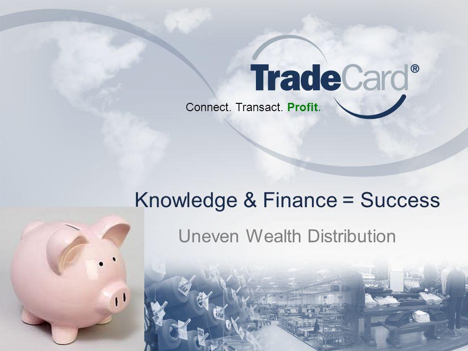 Connect. Transact. Profit. Knowledge & Finance = Success Uneven Wealth Distribution