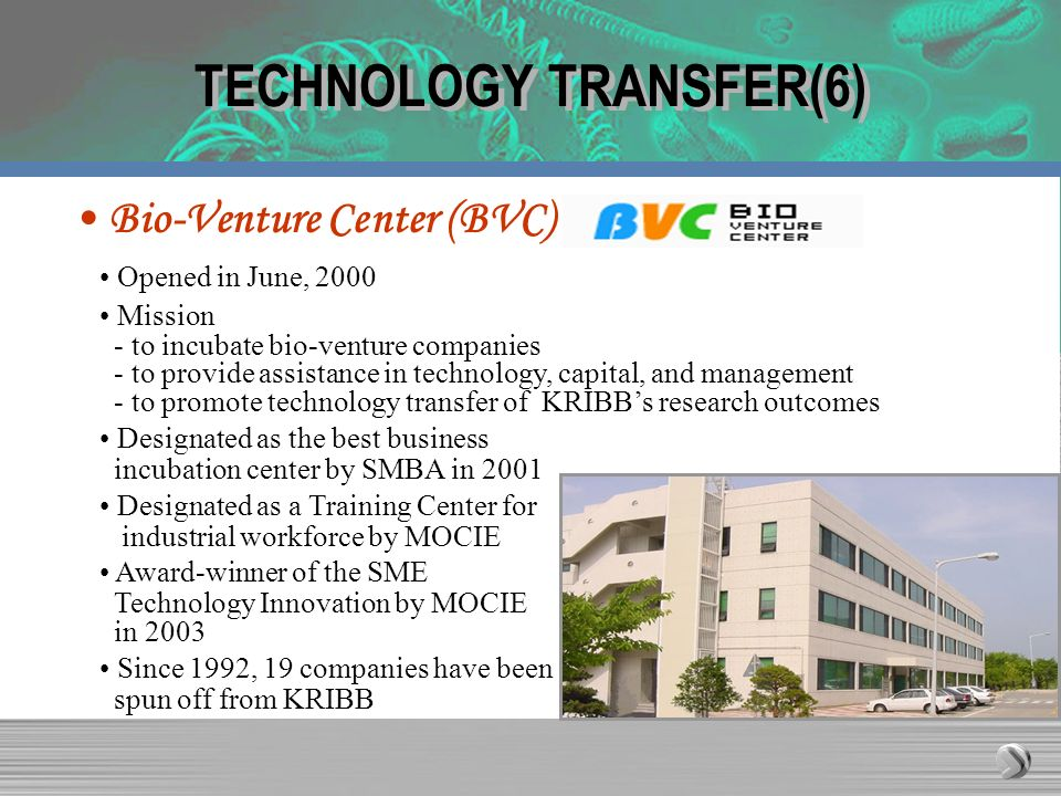 TECHNOLOGY TRANSFER(6) Opened in June, 2000 Mission - to incubate bio-venture companies - to provide assistance in technology, capital, and management - to promote technology transfer of KRIBBs research outcomes Designated as the best business incubation center by SMBA in 2001 Designated as a Training Center for industrial workforce by MOCIE Award-winner of the SME Technology Innovation by MOCIE in 2003 Since 1992, 19 companies have been spun off from KRIBB Bio-Venture Center (BVC)
