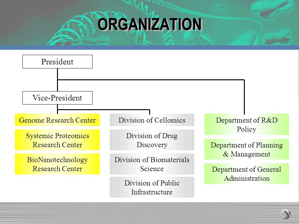ORGANIZATION Genome Research Center Systemic Proteomics Research Center BioNanotechnology Research Center President Vice-President Division of Cellomi