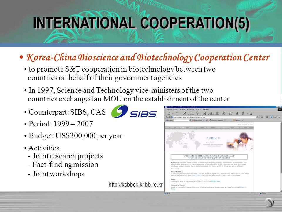 INTERNATIONAL COOPERATION(5) Korea-China Bioscience and Biotechnology Cooperation Center In 1997, Science and Technology vice-ministers of the two cou
