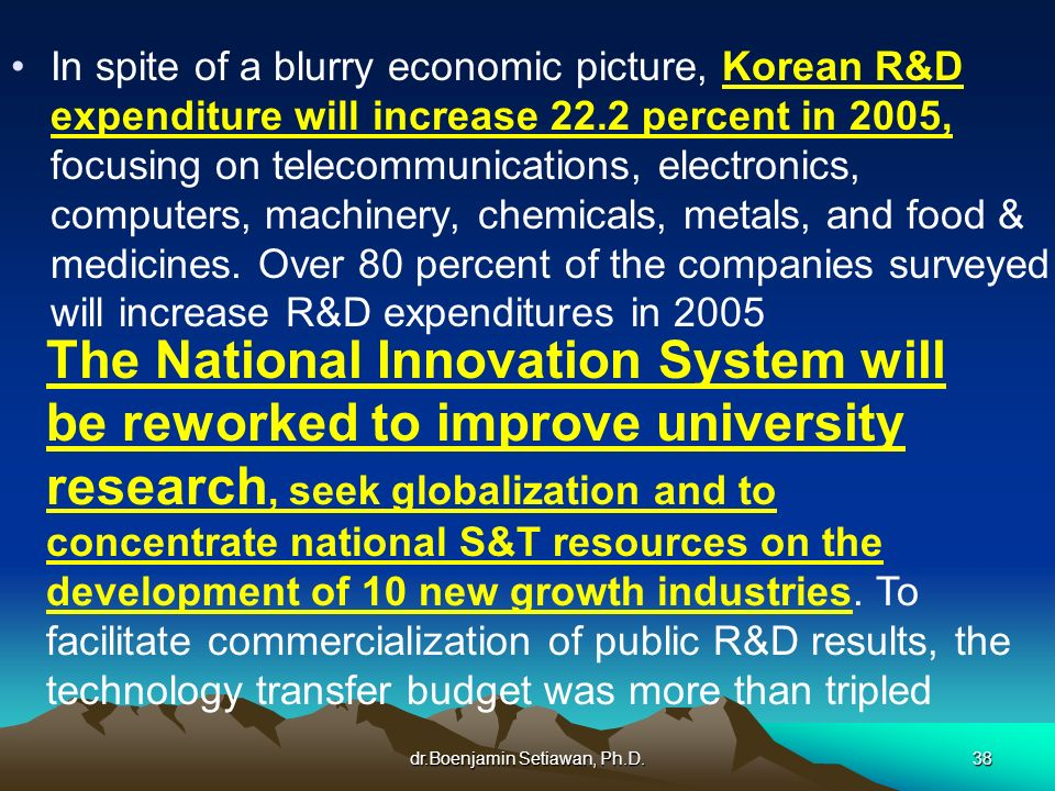 dr.Boenjamin Setiawan, Ph.D.38 In spite of a blurry economic picture, Korean R&D expenditure will increase 22.2 percent in 2005, focusing on telecommu