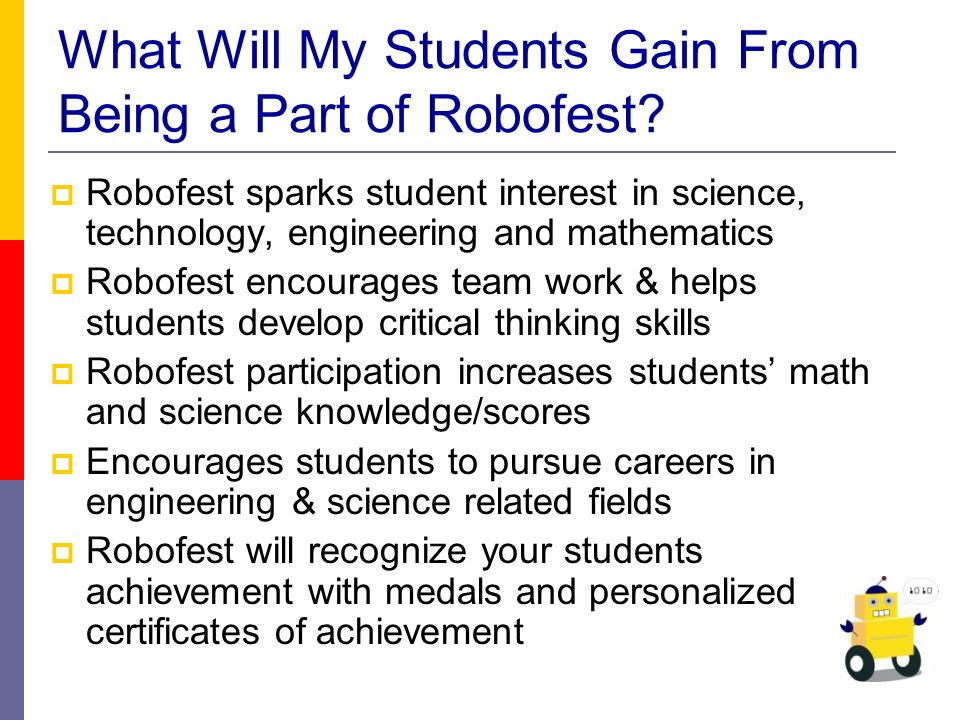 What Will My Students Gain From Being a Part of Robofest.