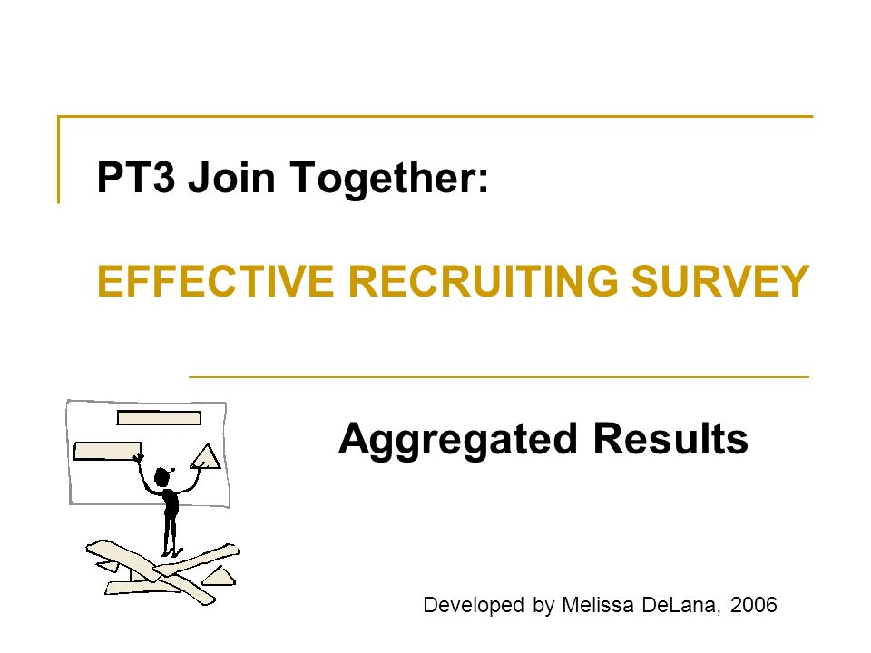 PT3 Join Together: EFFECTIVE RECRUITING SURVEY Aggregated Results Developed by Melissa DeLana, 2006