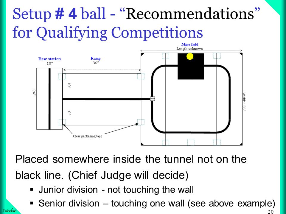20 Robofest Setup # 4 ball - Recommendations for Qualifying Competitions Placed somewhere inside the tunnel not on the black line. (Chief Judge will d