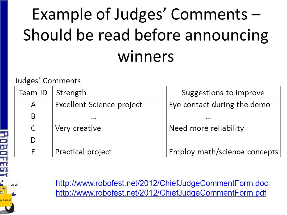Judges Comments Team IDStrength Suggestions to improve A Excellent Science project Eye contact during the demo B … … C Very creative Need more reliability D E Practical project Employ math/science concepts Example of Judges Comments – Should be read before announcing winners http://www.robofest.net/2012/ChiefJudgeCommentForm.doc http://www.robofest.net/2012/ChiefJudgeCommentForm.pdf