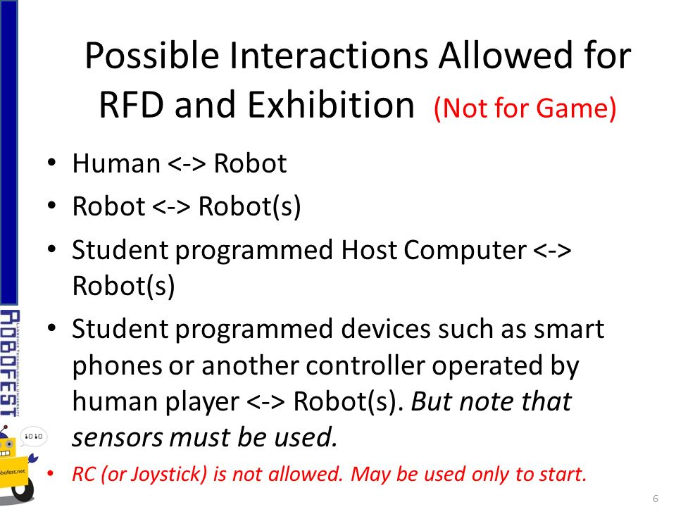 Human Robot Robot Robot(s) Student programmed Host Computer Robot(s) Student programmed devices such as smart phones or another controller operated by human player Robot(s).