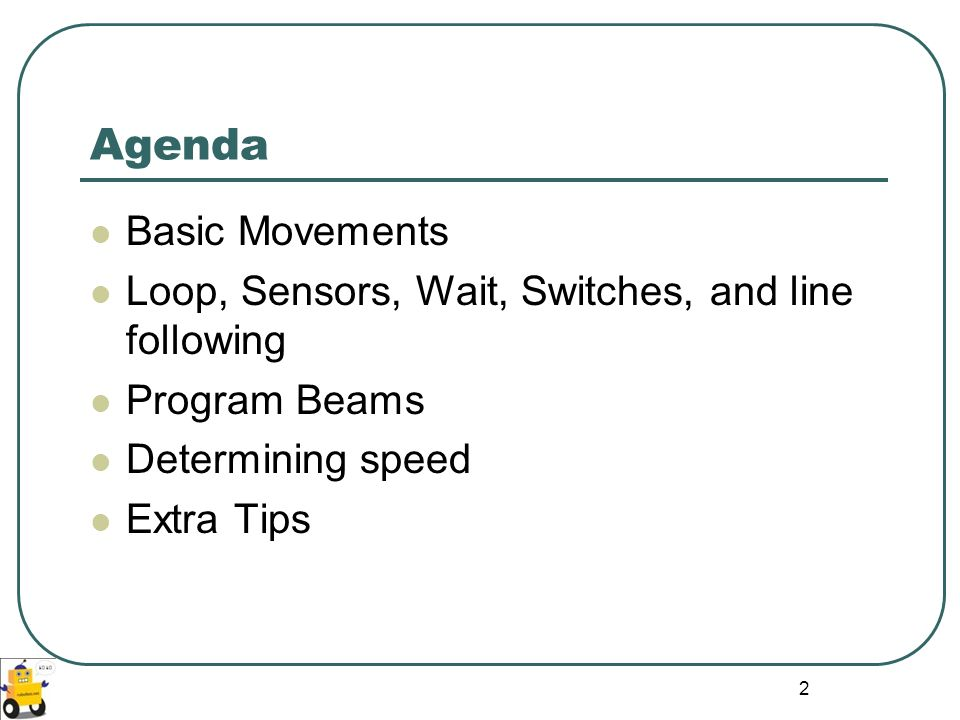 13 Exercise 1: Stop at the Edge of the Table Program:
