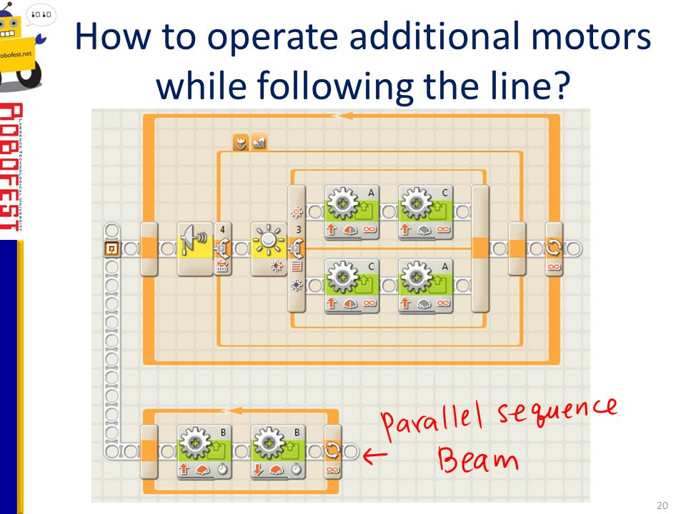How to operate additional motors while following the line 20