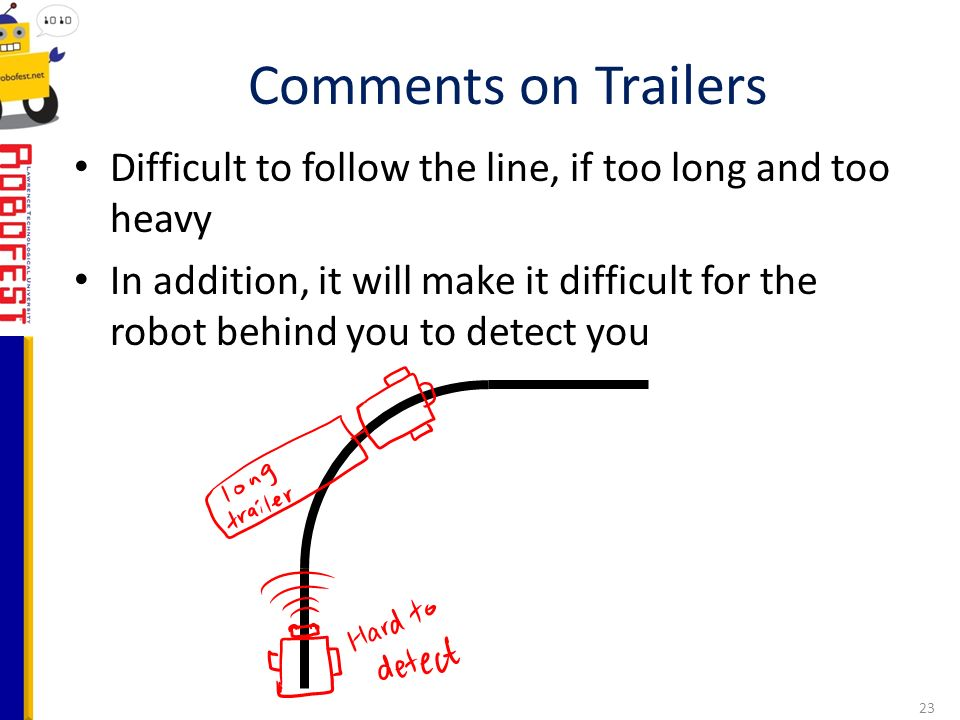 Difficult to follow the line, if too long and too heavy In addition, it will make it difficult for the robot behind you to detect you Comments on Trailers 23