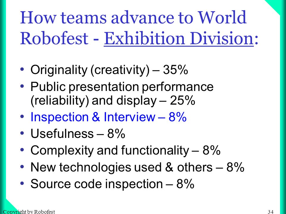 34Copyright by Robofest How teams advance to World Robofest - Exhibition Division: Originality (creativity) – 35% Public presentation performance (reliability) and display – 25% Inspection & Interview – 8% Usefulness – 8% Complexity and functionality – 8% New technologies used & others – 8% Source code inspection – 8%