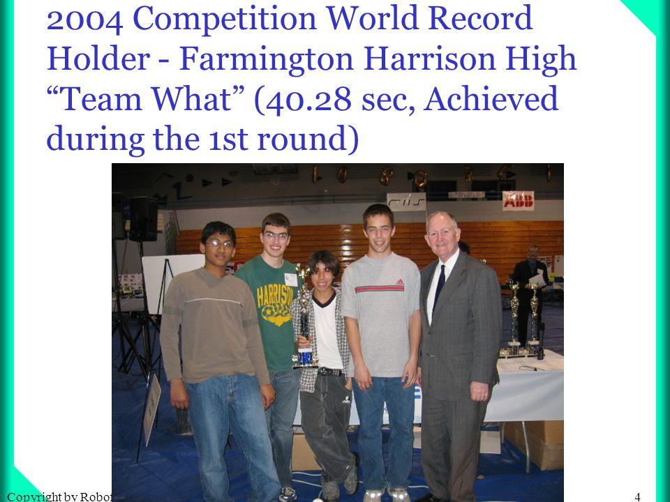 25Copyright by Robofest Competition Performance Winners: For Best Performance, the average of two rounds will be used to determine the finalists.