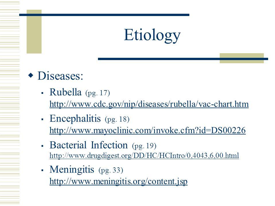 Etiology Diseases: Rubella (pg. 17) http://www.cdc.gov/nip/diseases/rubella/vac-chart.htm http://www.cdc.gov/nip/diseases/rubella/vac-chart.htm Enceph