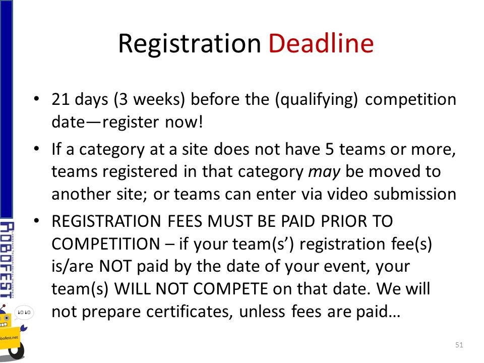 Registration Deadline 21 days (3 weeks) before the (qualifying) competition dateregister now.