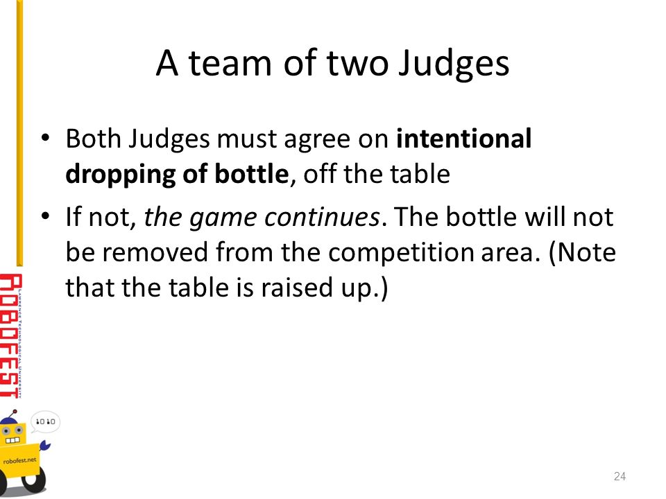 A team of two Judges Both Judges must agree on intentional dropping of bottle, off the table If not, the game continues. The bottle will not be remove