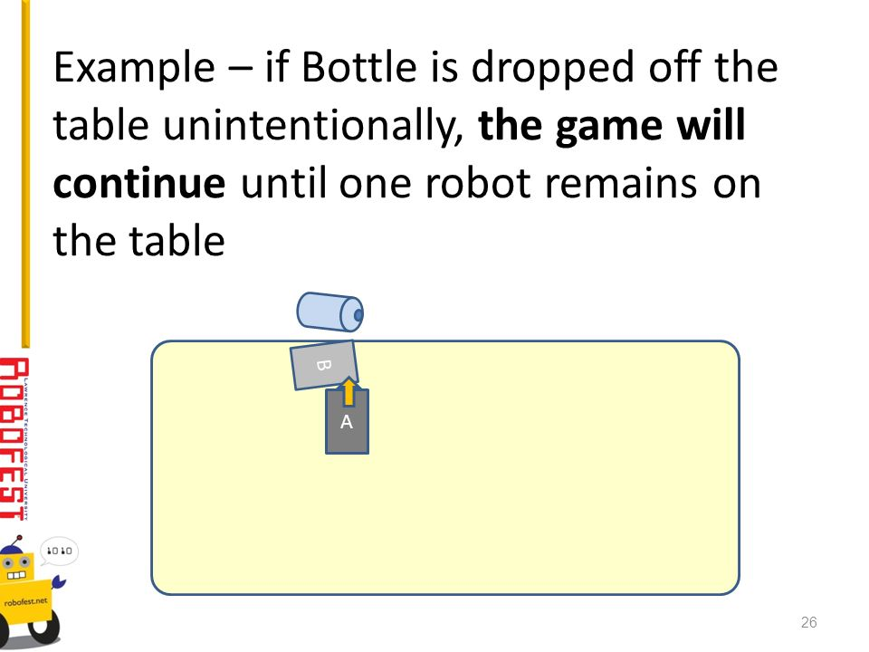 Example – if Bottle is dropped off the table unintentionally, the game will continue until one robot remains on the table A B 26