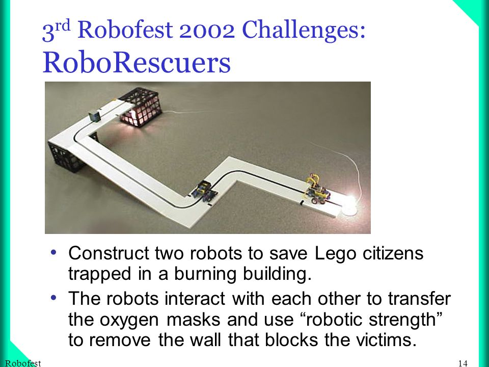 14Robofest 3 rd Robofest 2002 Challenges: RoboRescuers Construct two robots to save Lego citizens trapped in a burning building.