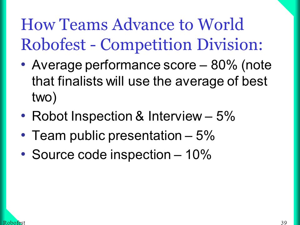 39Robofest How Teams Advance to World Robofest - Competition Division: Average performance score – 80% (note that finalists will use the average of best two) Robot Inspection & Interview – 5% Team public presentation – 5% Source code inspection – 10%
