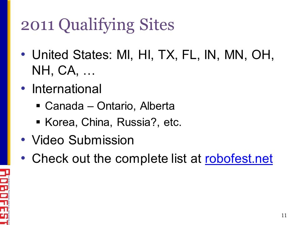 11 2011 Qualifying Sites United States: MI, HI, TX, FL, IN, MN, OH, NH, CA, … International Canada – Ontario, Alberta Korea, China, Russia , etc.