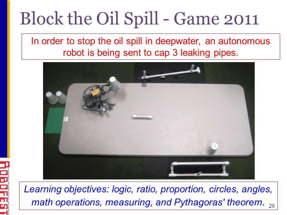 Block the Oil Spill - Game 2011 In order to stop the oil spill in deepwater, an autonomous robot is being sent to cap 3 leaking pipes.