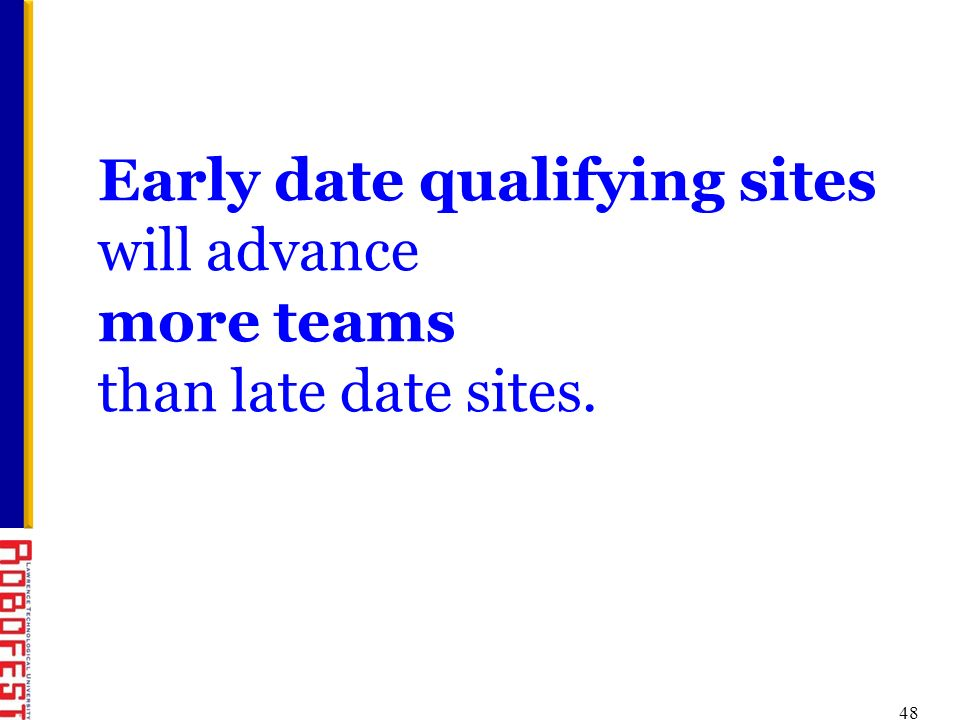 48 Early date qualifying sites will advance more teams than late date sites.