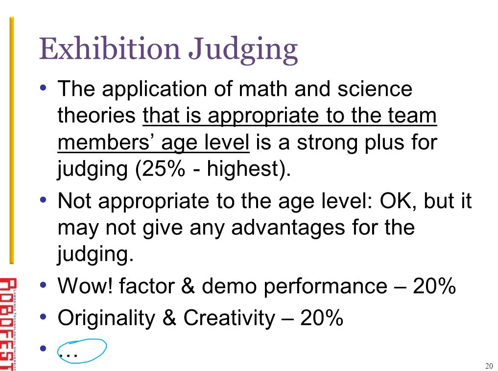 Exhibition Judging The application of math and science theories that is appropriate to the team members age level is a strong plus for judging (25% - highest).