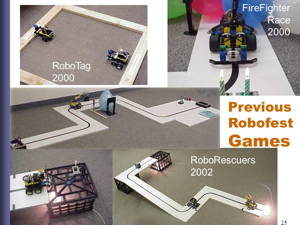 25 RoboTag 2000 FireFighter Race 2000 RoboMessenger 2001 RoboRescuers 2002 Previous Robofest Games