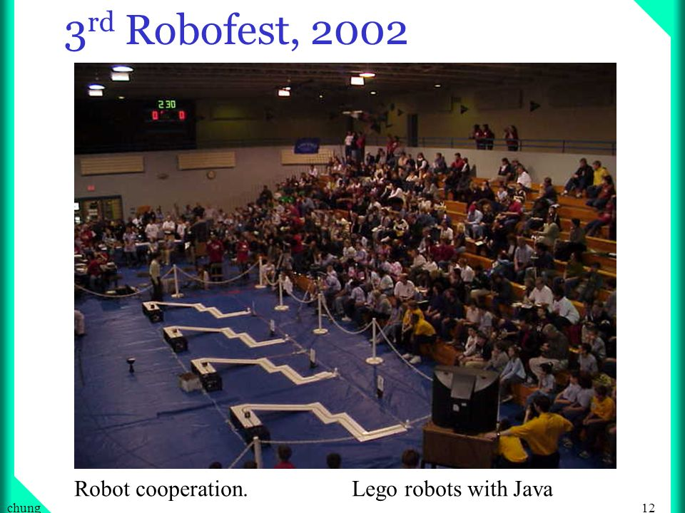 12chung 3 rd Robofest, 2002 Robot cooperation. Lego robots with Java