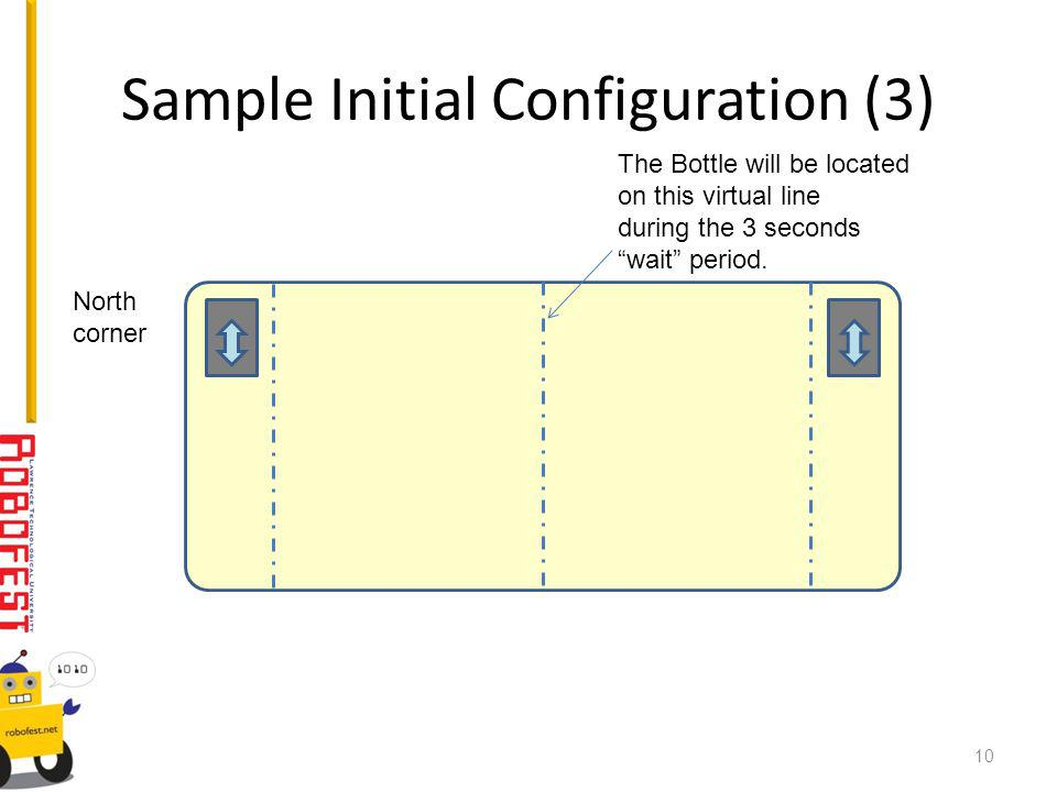 Sample Initial Configuration (3) The Bottle will be located on this virtual line during the 3 seconds wait period.