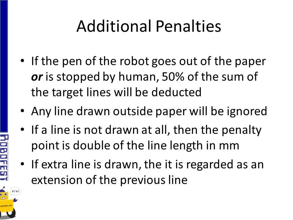 If the pen of the robot goes out of the paper or is stopped by human, 50% of the sum of the target lines will be deducted Any line drawn outside paper