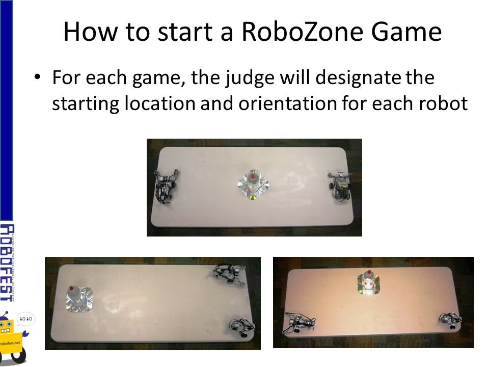 How to start a RoboZone Game For each game, the judge will designate the starting location and orientation for each robot