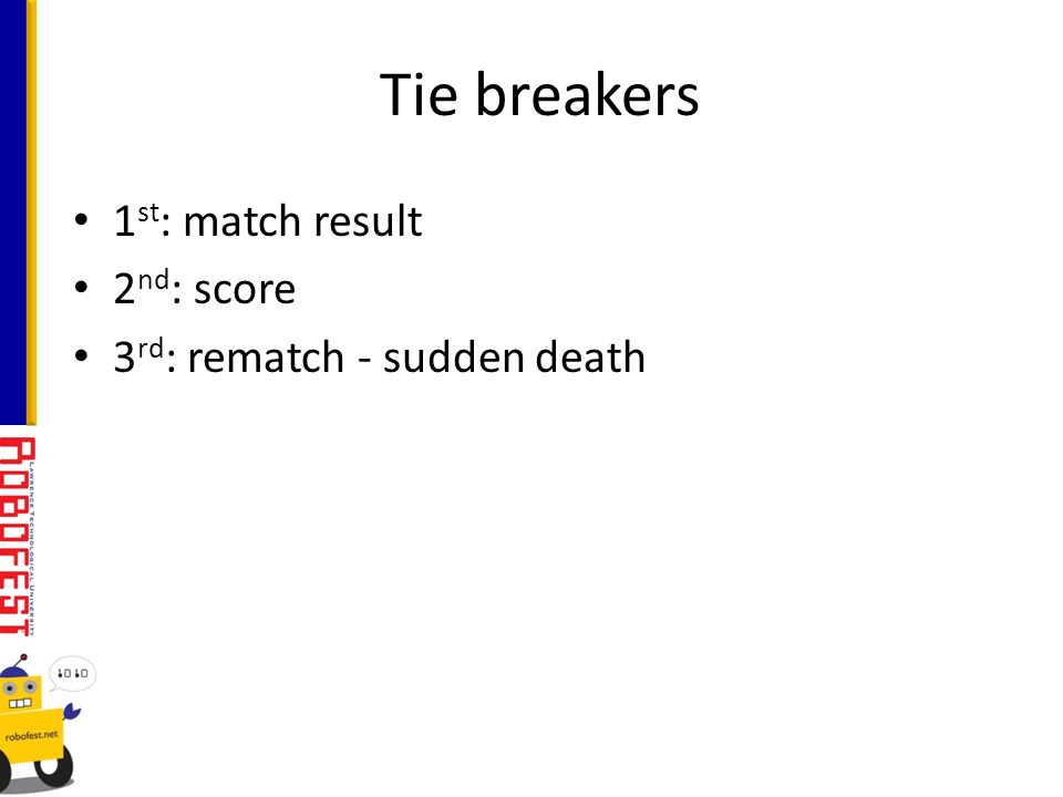 1 st : match result 2 nd : score 3 rd : rematch - sudden death Tie breakers