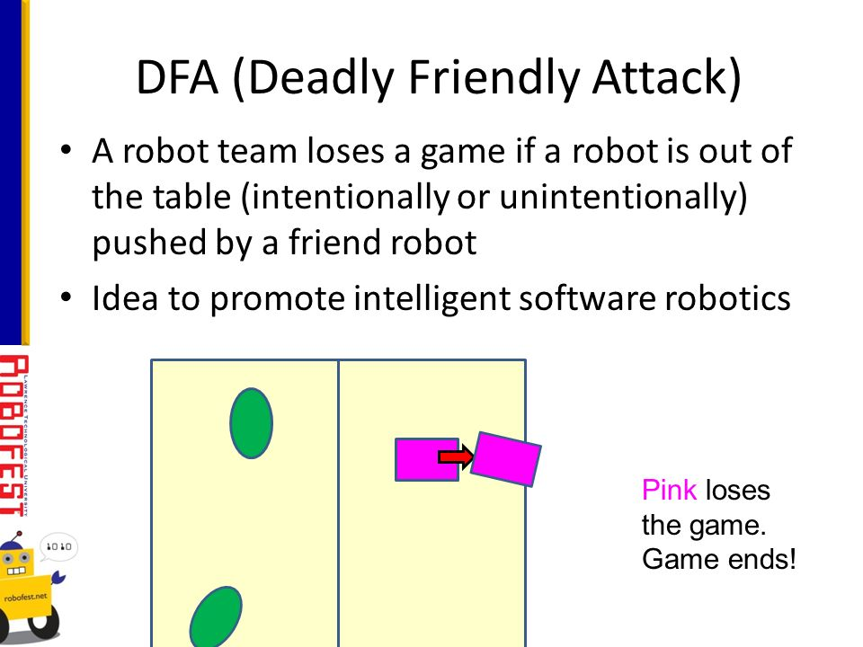 A robot team loses a game if a robot is out of the table (intentionally or unintentionally) pushed by a friend robot Idea to promote intelligent software robotics DFA (Deadly Friendly Attack) Pink loses the game.