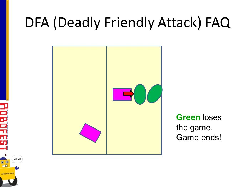 DFA (Deadly Friendly Attack) FAQ Green loses the game. Game ends!