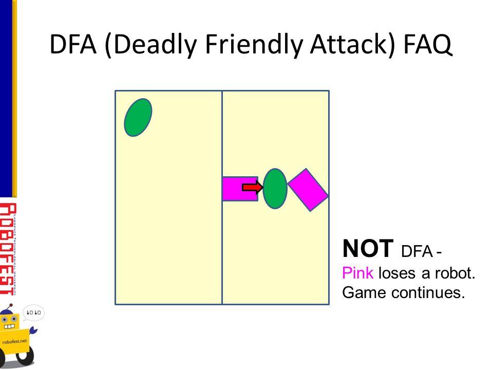 DFA (Deadly Friendly Attack) FAQ NOT DFA - Pink loses a robot. Game continues.