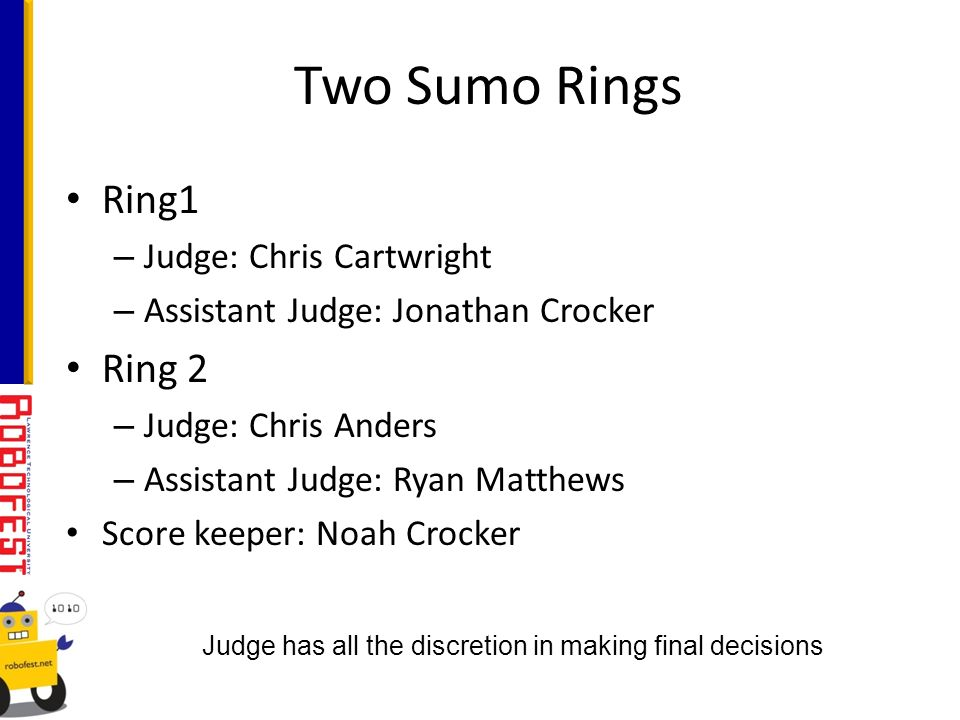 Ring1 – Judge: Chris Cartwright – Assistant Judge: Jonathan Crocker Ring 2 – Judge: Chris Anders – Assistant Judge: Ryan Matthews Score keeper: Noah Crocker Two Sumo Rings Judge has all the discretion in making final decisions