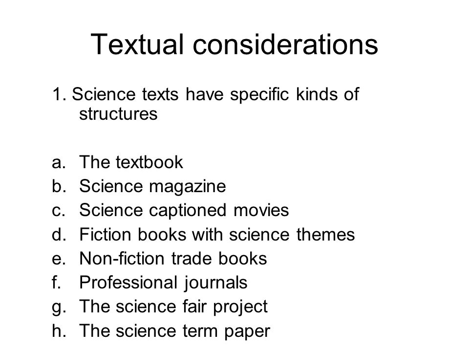 Textual considerations 1.