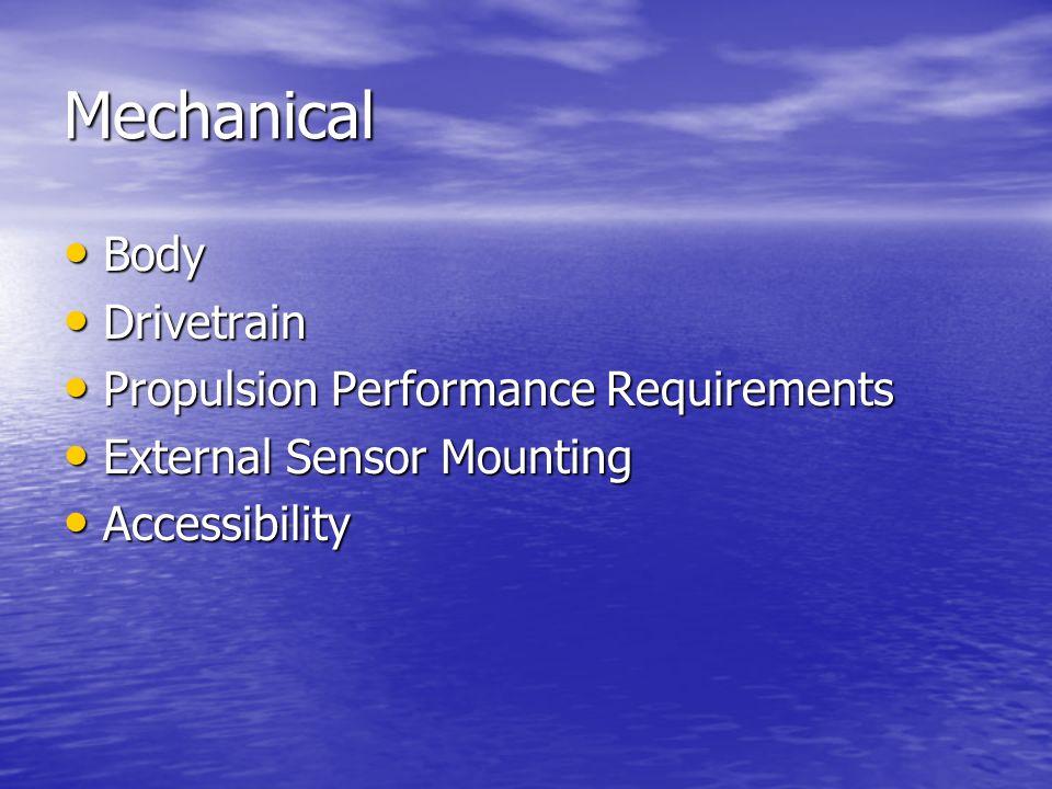 Mechanical Body Body Drivetrain Drivetrain Propulsion Performance Requirements Propulsion Performance Requirements External Sensor Mounting External Sensor Mounting Accessibility Accessibility