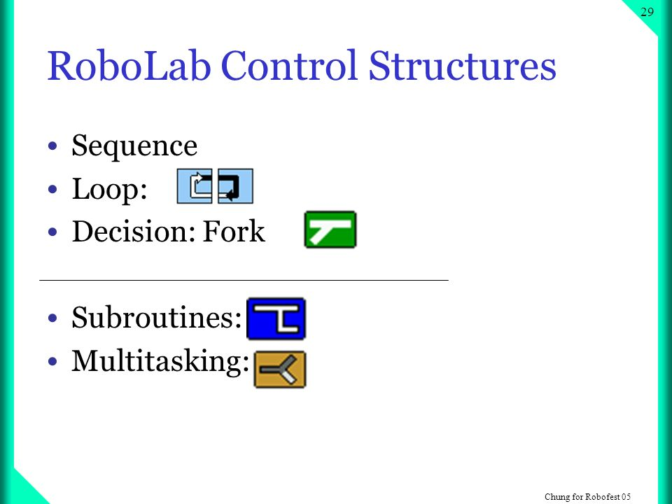 Chung for Robofest RoboLab Control Structures Sequence Loop: Decision: Fork Subroutines: Multitasking: