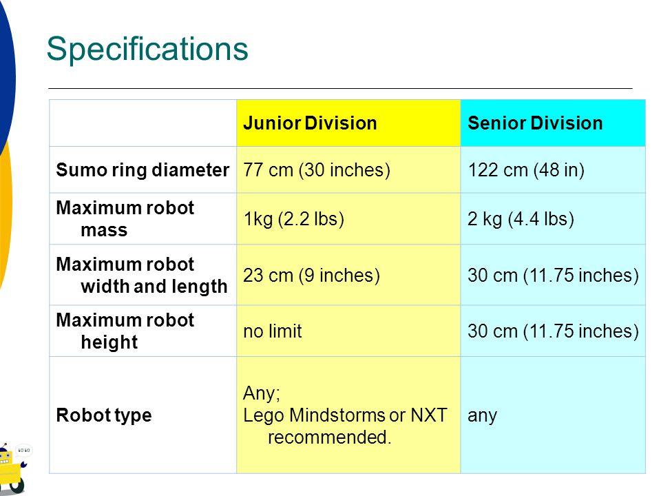 Specifications Junior DivisionSenior Division Sumo ring diameter77 cm (30 inches)122 cm (48 in) Maximum robot mass 1kg (2.2 lbs)2 kg (4.4 lbs) Maximum