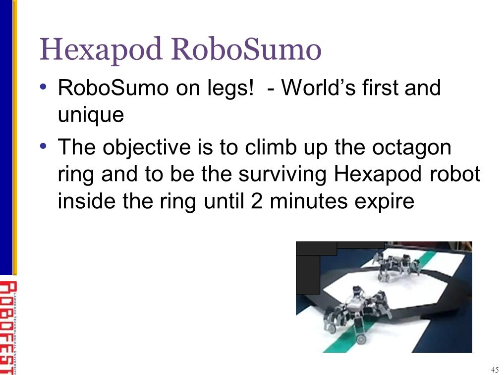 Hexapod RoboSumo RoboSumo on legs.