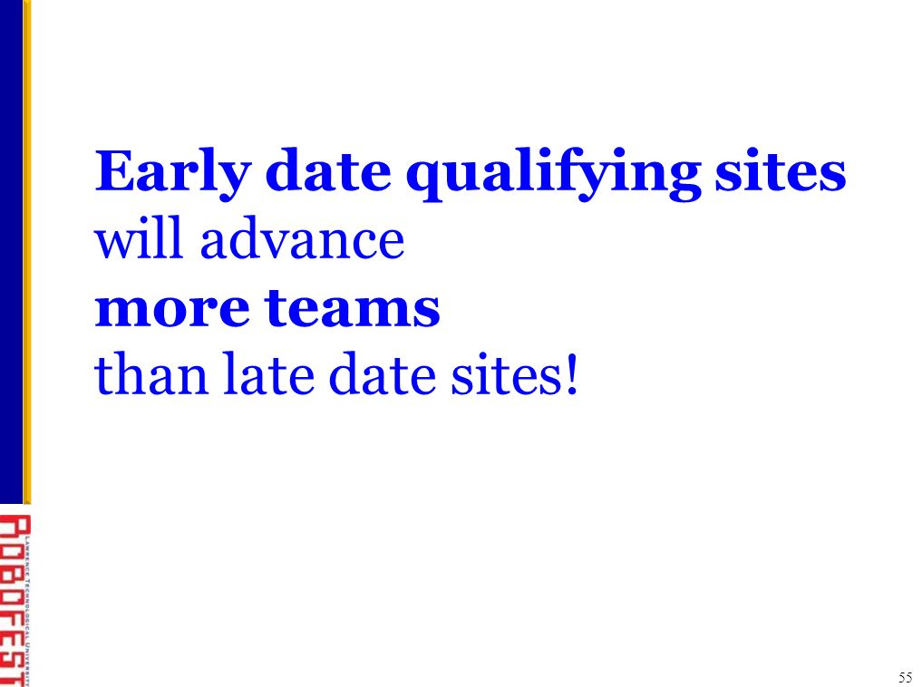 55 Early date qualifying sites will advance more teams than late date sites!