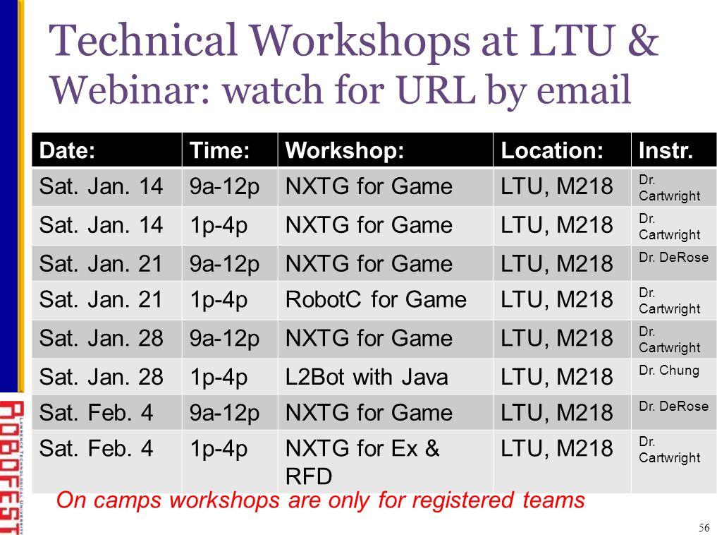 56 Technical Workshops at LTU & Webinar: watch for URL by email Date:Time:Workshop:Location:Instr.