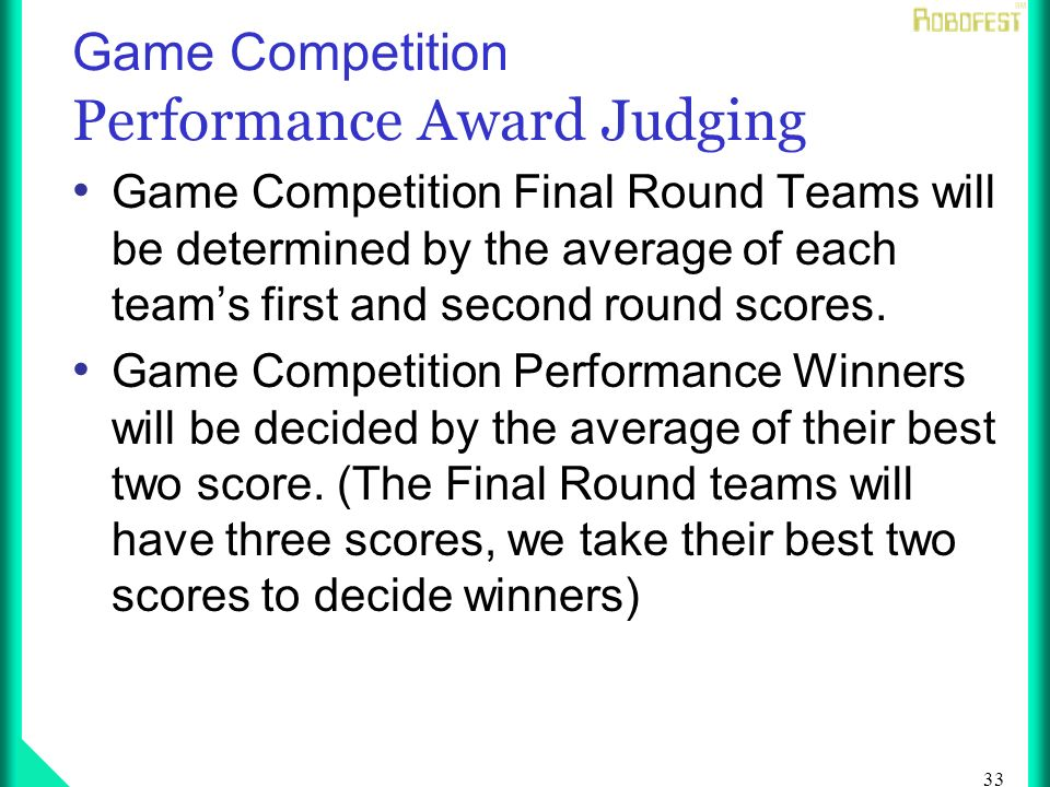 33 Game Competition Performance Award Judging Game Competition Final Round Teams will be determined by the average of each teams first and second round scores.